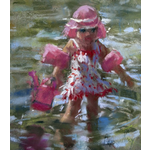 Little girl in the river